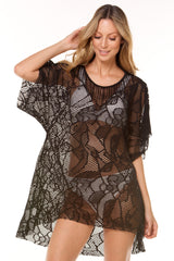 Black Sheny Lace Short Dress