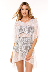White Sheny Lace Short Dress