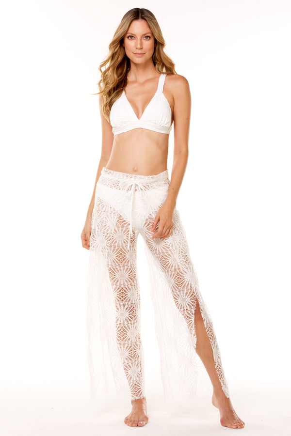 White Nayarit Lace Long Pant