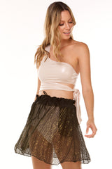 Shine Black Cavalli Lace Skirt