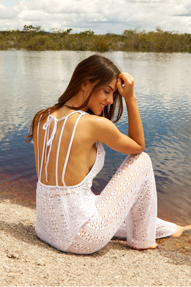 White Triana Lace Jumpsuit