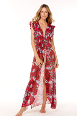 Red Printed Mesh Long Dress