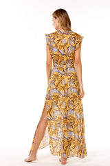 Yellow Printed Mesh Long Dress