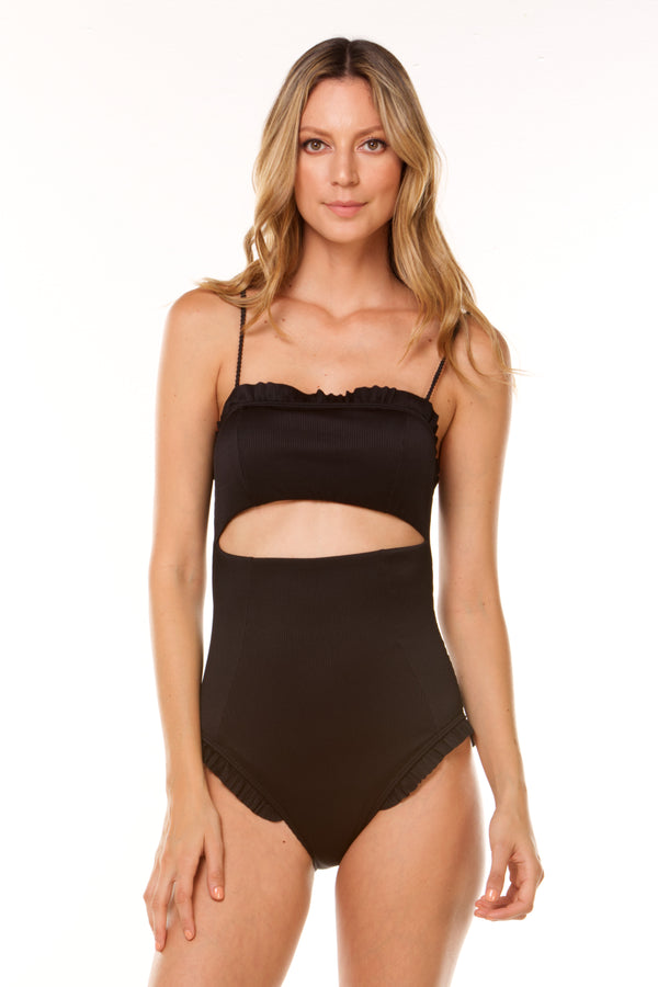 Black Ribbed One Piece