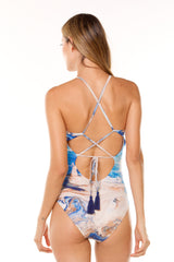 Blue Calma One Piece with Sleeves