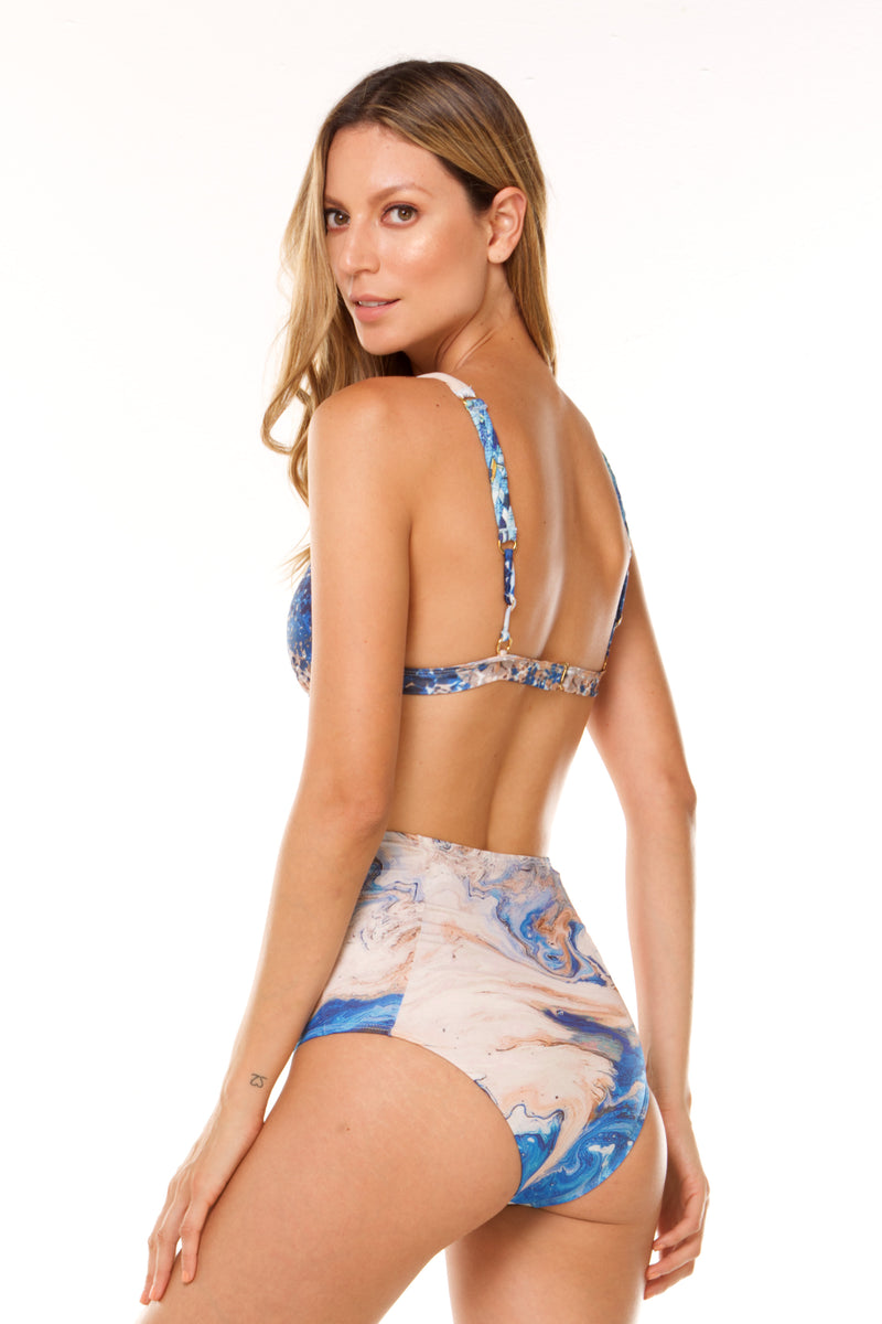 Blue Calma High Waist Bikini in ECCO fabric