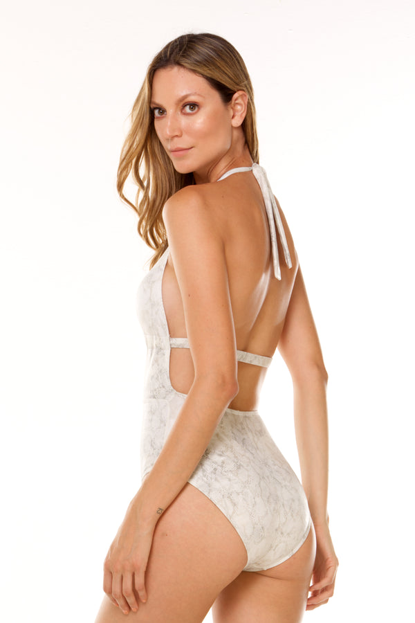 White Marmolized One Piece
