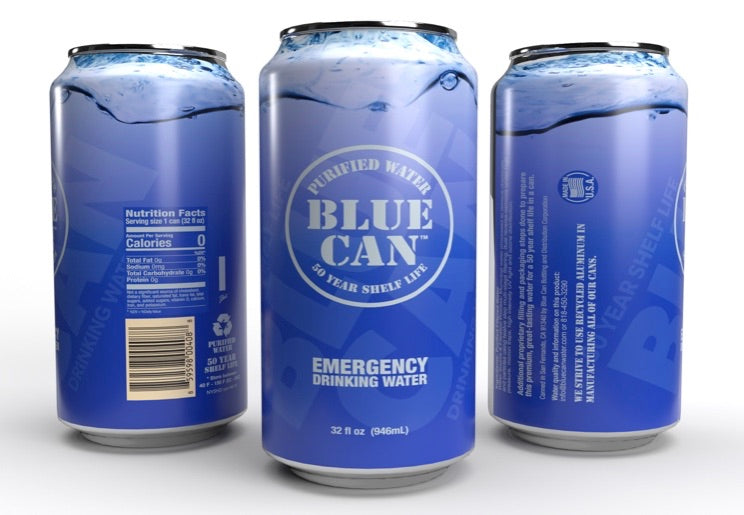 """BIG BLUE"" 32oz Blue Can - Premium Emergency Drinking Water Premium Emergency Drinking Water w/ 50 year Shelf Life"