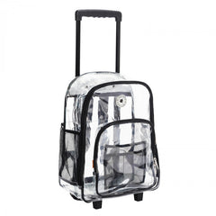 "Wheeled Deluxe 17"" See-through clear 0.5mm PVC backpack"