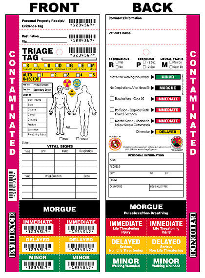 First Responder Triage Tags