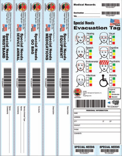 Special Needs Evacuation Wrist Band Tags