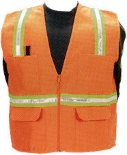 Multi-Pocket Safety Vest with Stripes