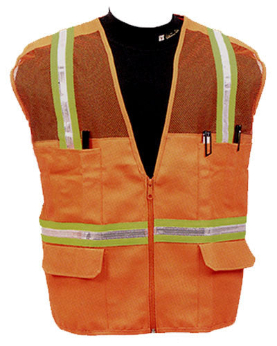 Multi-Pocket Mesh Safety Vest with Stripes