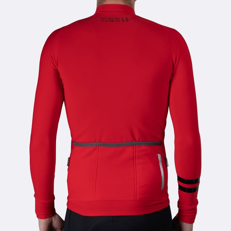 PEDAL MAFIA Mens Thermal Jacket - Coordinates Red