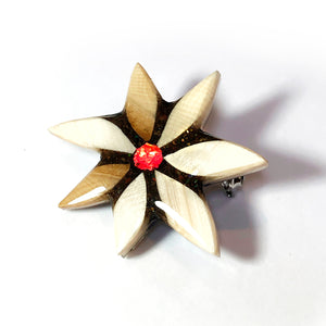 Mammoth Ivory and Ammolite Flake Brooch