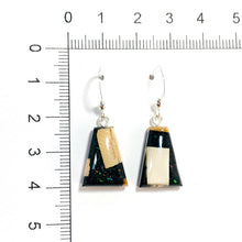 Load image into Gallery viewer, Ammolite_gemstone_micro_flake_and_mammoth_ivory_earrings_black_hook-size