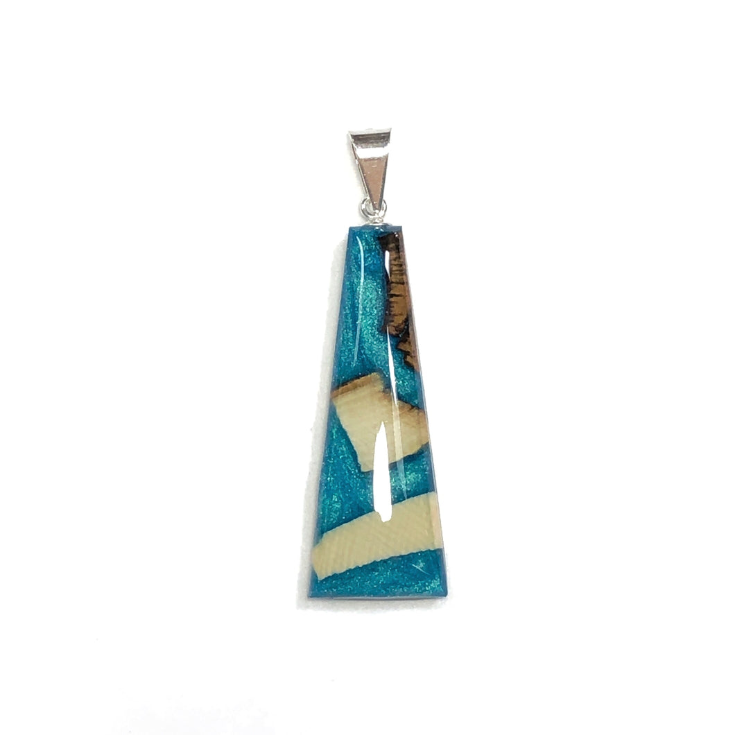Mammoth tusk and resin aqua pendant jewelry