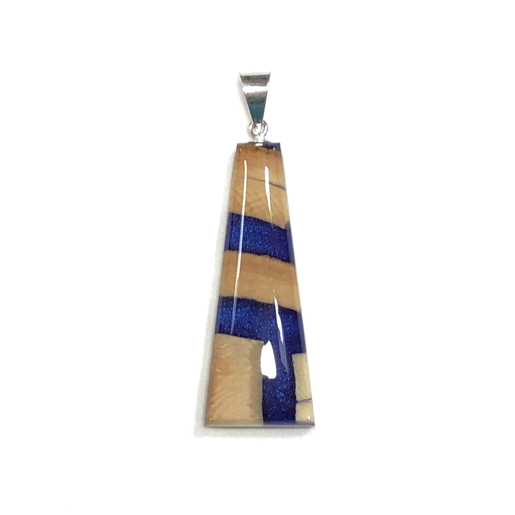 Pendant Jewellery- Woolly Mammoth Ivory with Resin Inlay- Arctic Midnight Blue- Representing the winter night skies of Northern Canada.