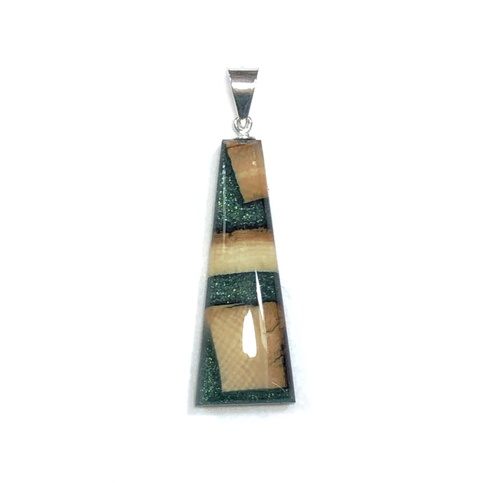 Forest Frost Green Flare Pendant-Woolly Mammoth Ivory and resin