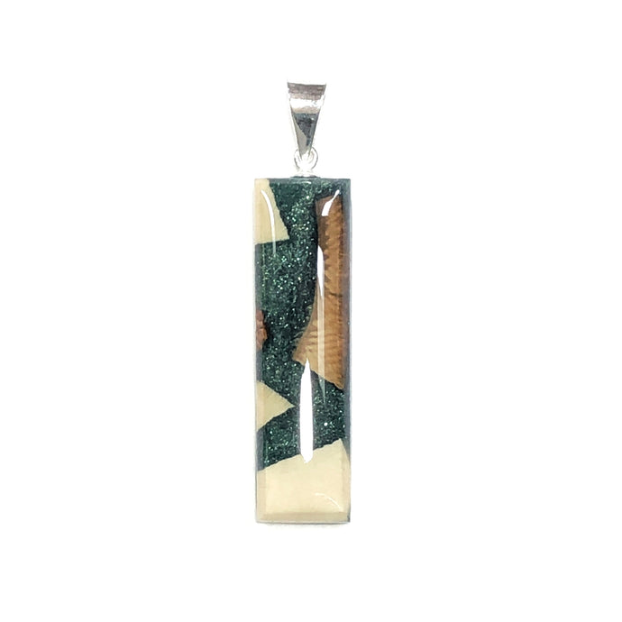 Forest Frost Green rectangle Woolly Mammoth Ivory and resin pendant