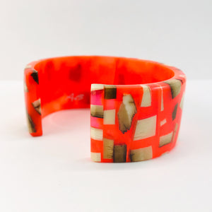 Mammoth_ivory_and_resin_bracelet_jewelleryorange_bangle