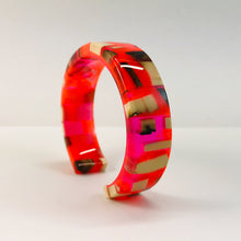 Load image into Gallery viewer, Mammoth_ivory_and_resin_bracelet_jewellery_pink_and_orange