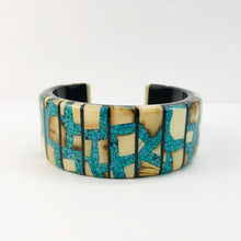 Load image into Gallery viewer, Mammoth_ivory_and_turquoise_bracelet_statement_jewelry
