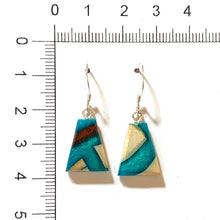 Load image into Gallery viewer, Mammoth_ivory_and_resin_jewellery_Hook_earrings_aqua_blue_size