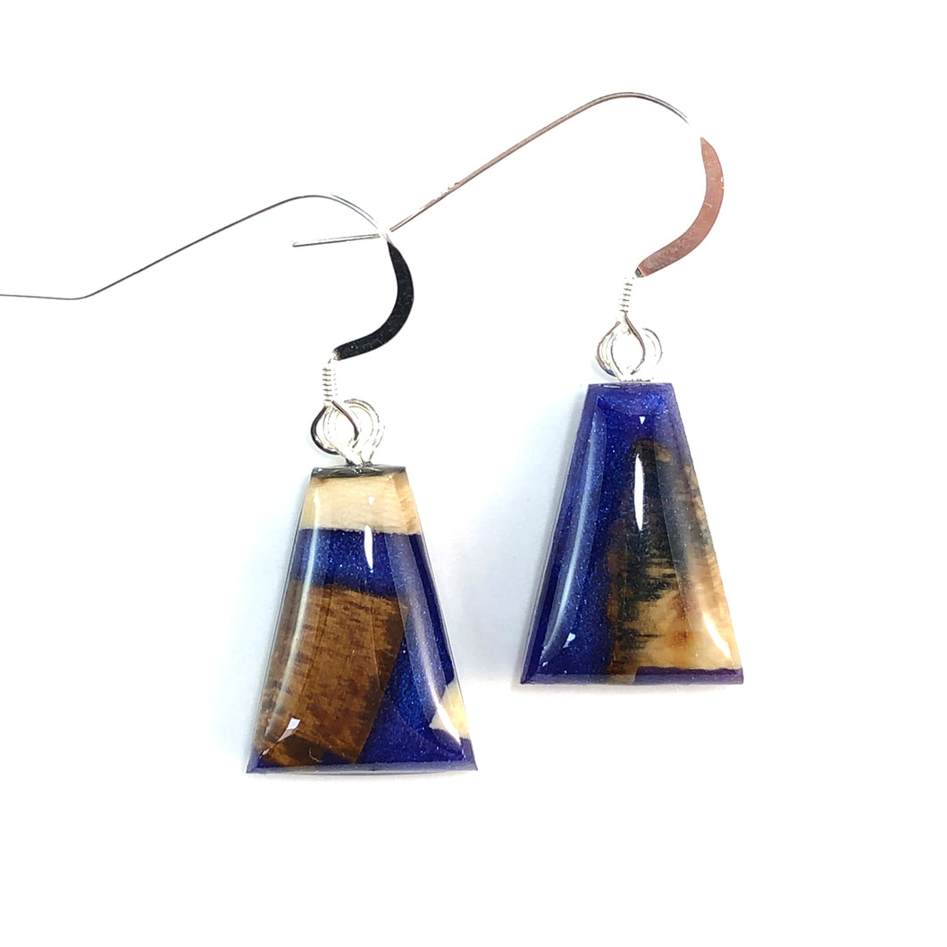 Mammoth_ivory_and_resin_jewelry_Hook_earrings_blue_flare