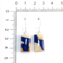 Load image into Gallery viewer, Mammoth_ivory_and_resin_jewelry_Hook_earrings_blue_size