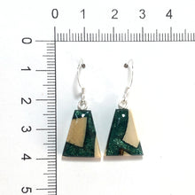 Load image into Gallery viewer, Mammoth_tooth__and_resin_earrings_forest_green_size