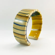 Load image into Gallery viewer, Mammoth Ivory Dark Blue and Gold Slim Bracelet
