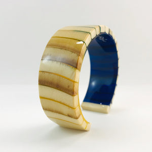 Mammoth Ivory Dark Blue and Gold Slim Bracelet
