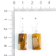 Load image into Gallery viewer, Prehistoric_ivory_and_resin_Hook_earringsMustard_gold_size