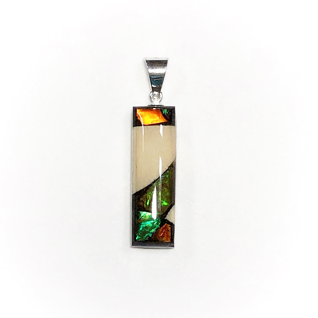 Small rectangle pendant - ammolite and mammoth ivory jewellery