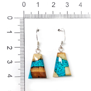 turquoise earrings - fossil ivory