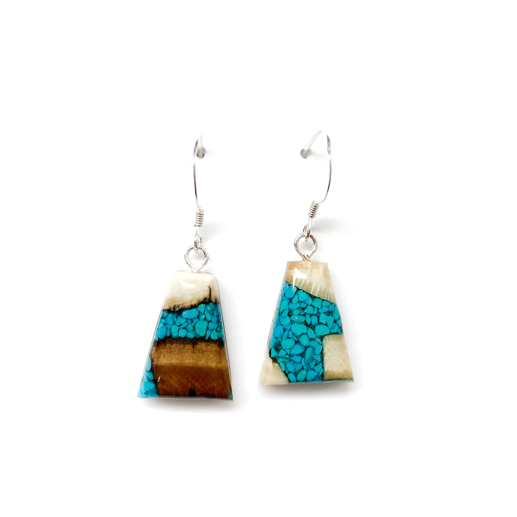 Turquoise earrings - mammoth ivory