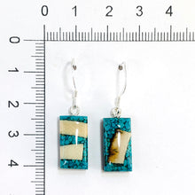 Load image into Gallery viewer, Turquoise_and_Mammoth_ivory_earrings_rectangle