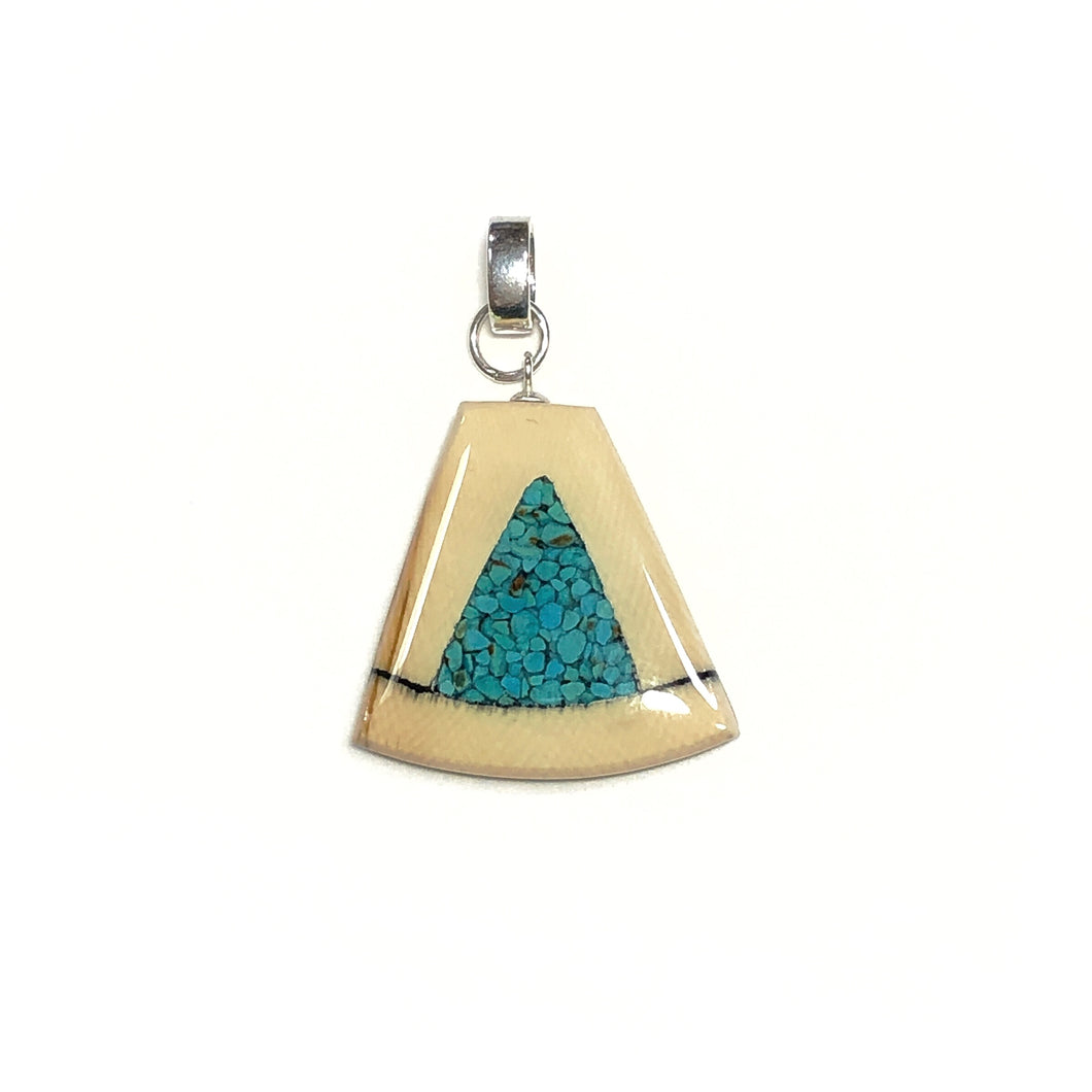 Turquoise gemstone and mammoth tooth pendant