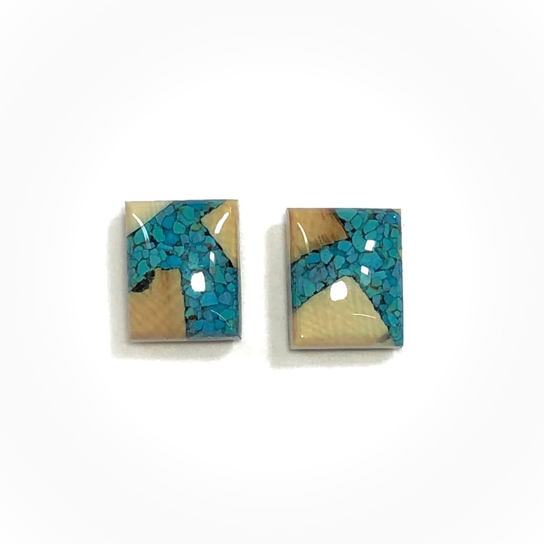 Turquoise Gemstone and Mammoth Ivory Earrings