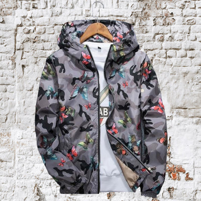 Camouflage Butterfly Print Jacket