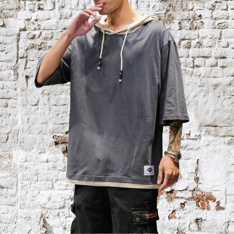 Cotton Half Sleeve Hooded Tee