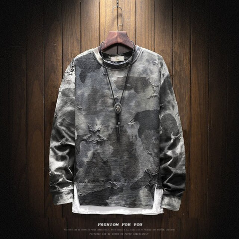 Ripped Oversize Camouflage Long-sleeve