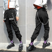 Black Cargo Pants With Chain Pocket
