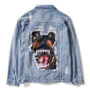 Dog Print Denim Jacket