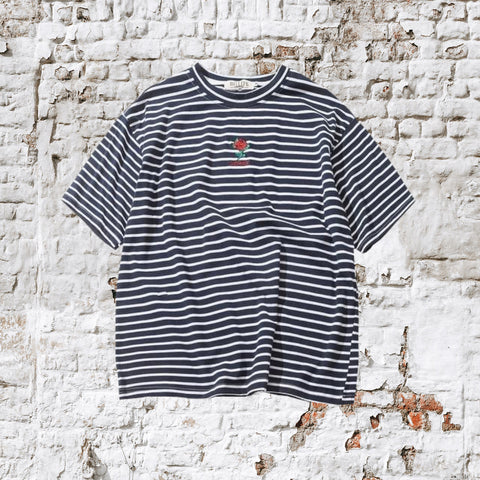 Rose Embroidery Striped Tee