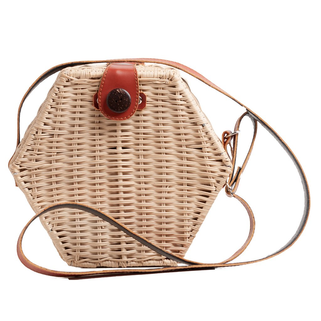 HEXAGONAL WICKER BAG - La Piskucha