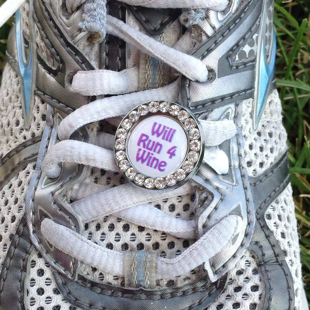 Will Run For Wine Circle Purple font