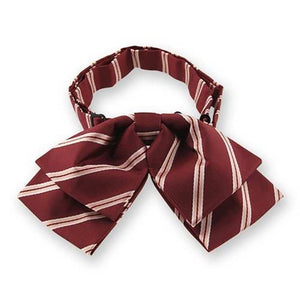 Burgundy Melvin Stripe Floppy Bow Tie
