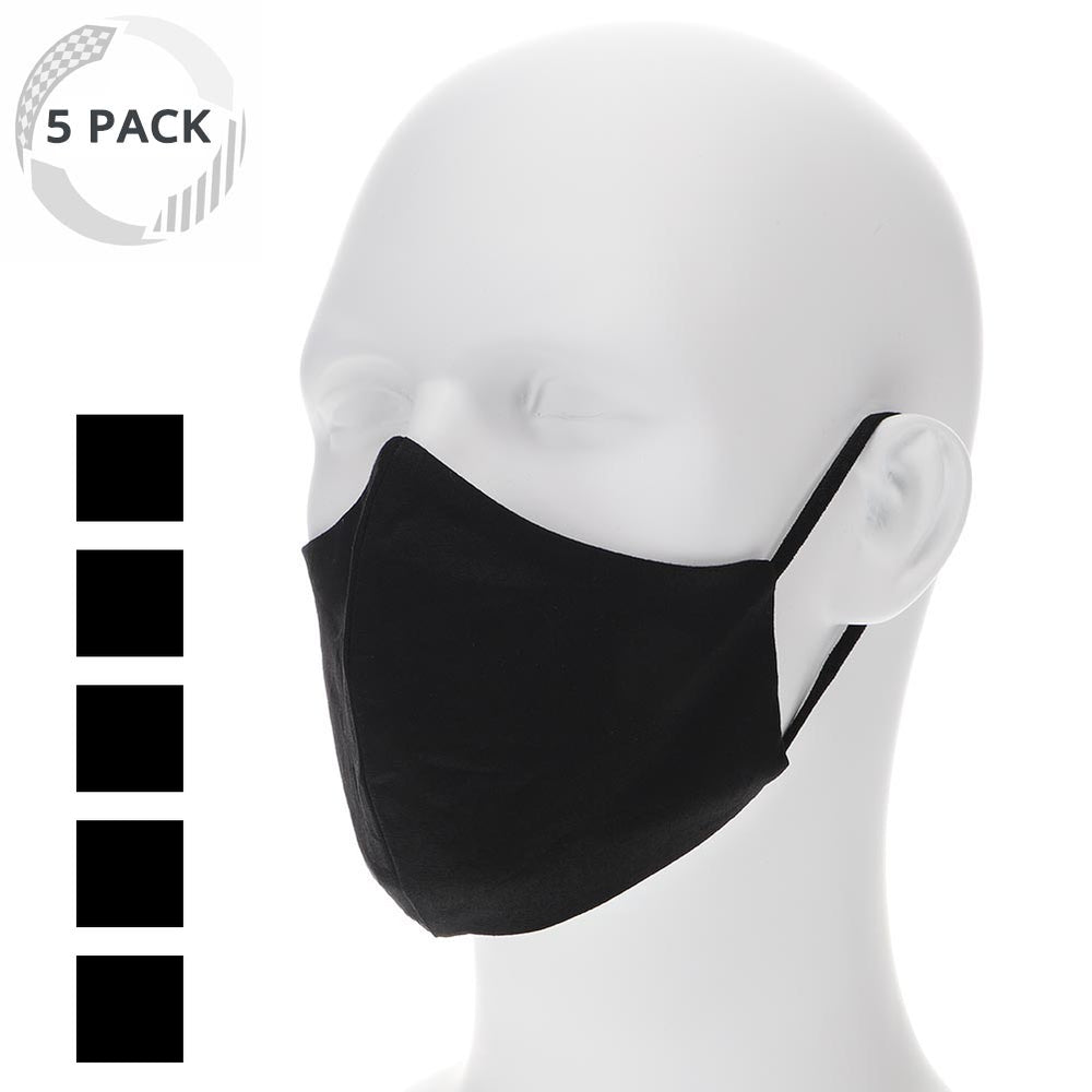 5 pack black cloth face mask